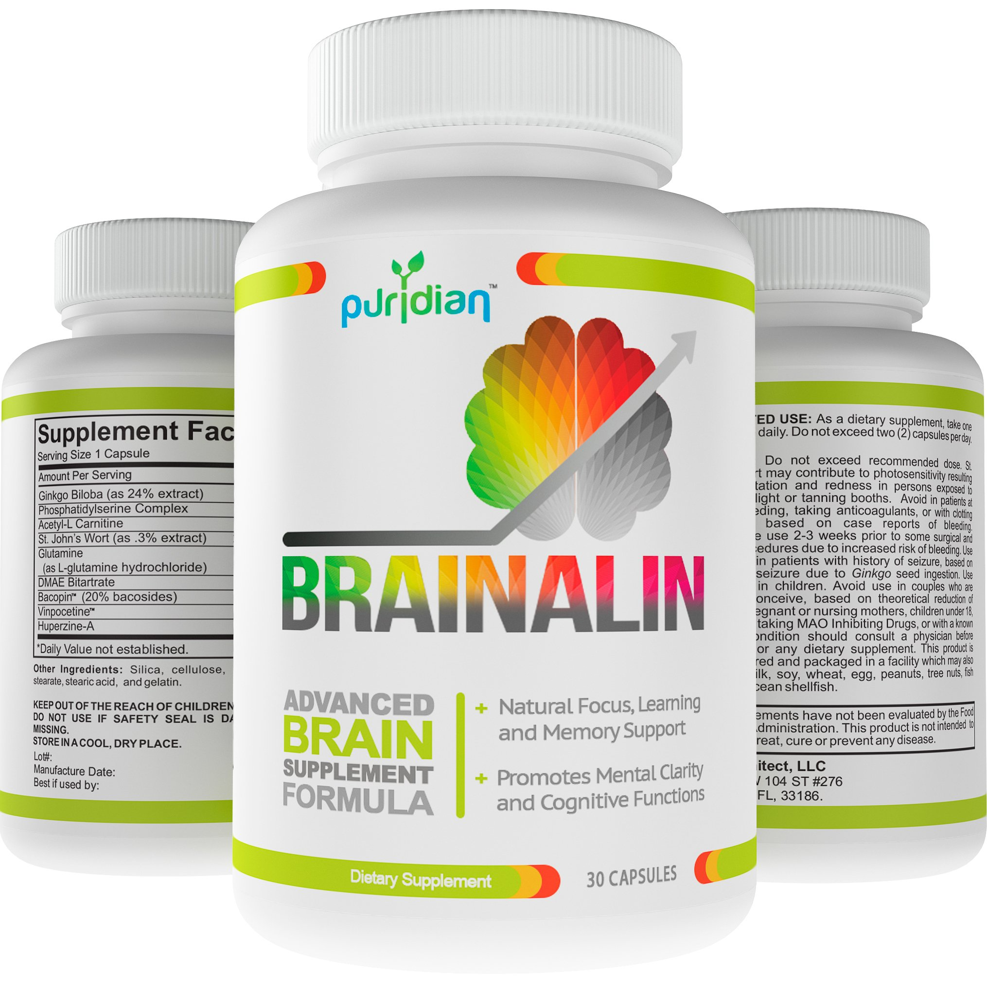 Brain Supplement Nootropics Natural Supplements Brainalin Memory Support and Supercharges Your Memory and Sharpens Your Focus 365 Day 100% Guarantee!