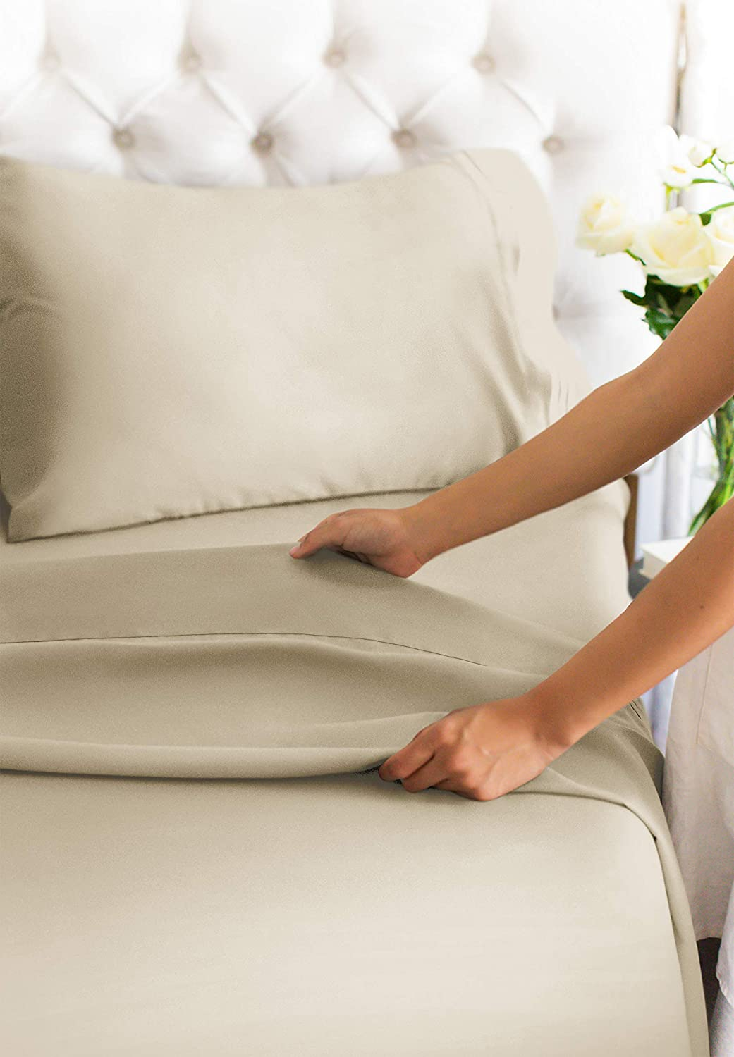 Queen Size Sheet Set - 4 Piece Set - Hotel Luxury Bed Sheets - Extra Soft - Deep Pockets - Easy Fit - Breathable & Cooling - Wrinkle Free - Comfy – Beige Tan Bed Sheets - Queens Sheets – 4 PC: Home & Kitchen