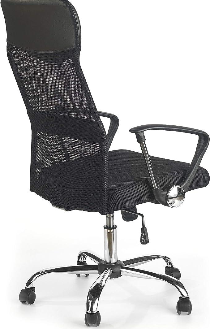 CHAIRMART Chaise de Bureau en Maille Filet avec Dossier Haut Noir 61 x 61 x 110cm~120cm Argent