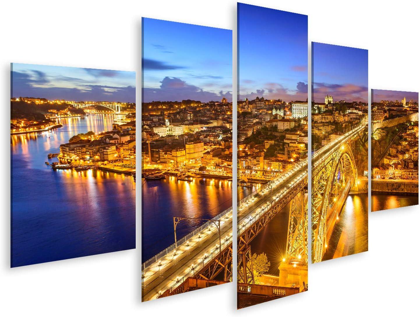 art up your life Bild Bilder auf Leinwand Porto Portugal Stadtbild /über der Dom Luis I Br/ücke Wandbild Poster Leinwandbild TBH