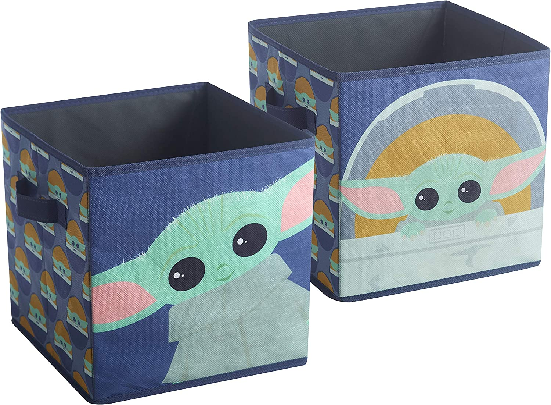 "Idea Nuova Star Wars: The Mandalorian The Child 2 Pack Storage Cube, 10""x10""x10"", Blue (NK330480)"