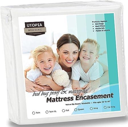 amazoncom utopia bedding waterproof zippered bugproof california king mattress encasement cover home u0026 kitchen - Mattress Encasement