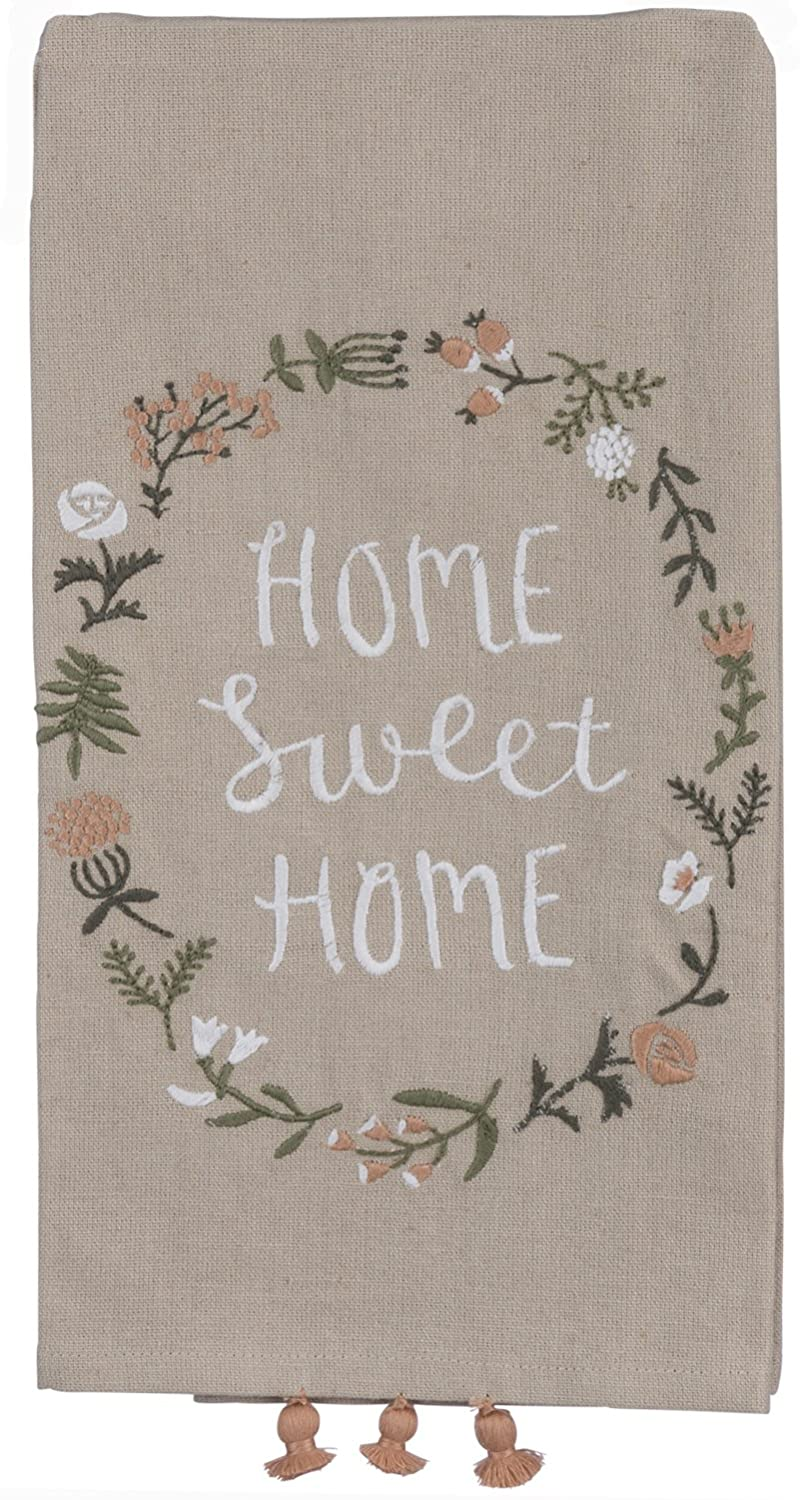 """Primitives by Kathy Home Sweet Home Kitchen Towel - Embroidered Flower Wreath - 20"""" x 26"""" Premium Cotton/Linen Dishtowel with Tassel Accents - 2018 Botanical Collection"""