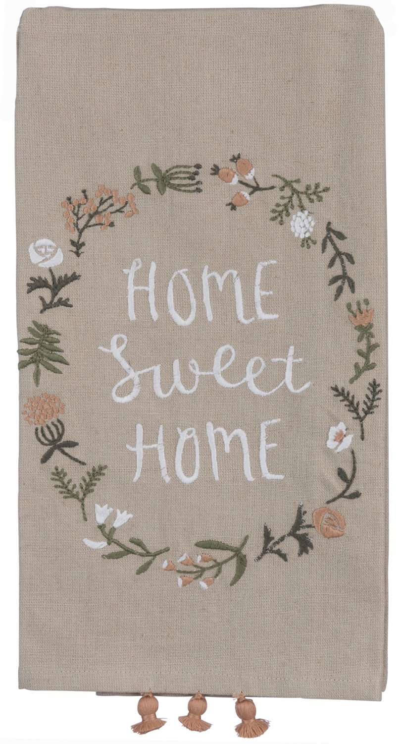 Primitives by Kathy Home Sweet Home Kitchen Towel - Embroidered Flower Wreath - 20'' x 26'' Premium Cotton/Linen Dishtowel with Tassel Accents - 2018 Botanical Collection