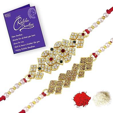 Sukkhi Exquisite Rakhi Combo Set Of 2 With Roli Chawal And Raksha Bandhan Greeting