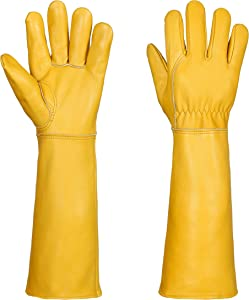 Gardening Gloves for Women/Men- Alomidds Rose Pruning Thorn & Cut Proof Elbow Length Durable Cowhide Leather Garden Work Gloves for Pruning Cacti Rose and Thorny Bushes (Small, Yellow)