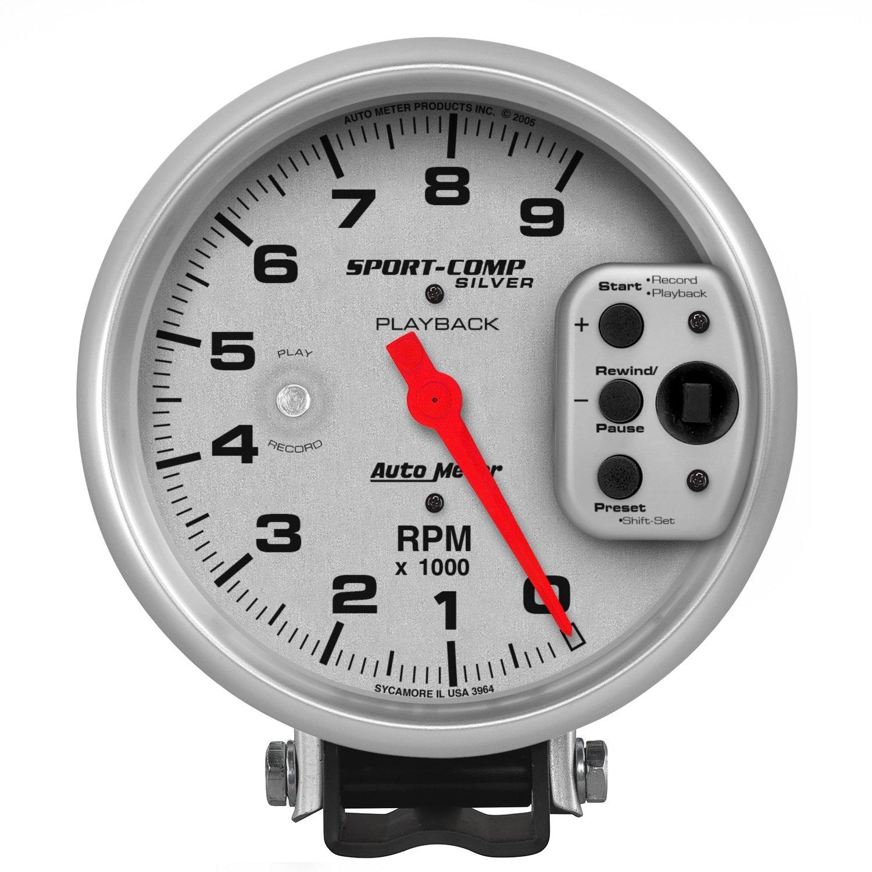 Auto Meter 3964 Sport-Comp Silver Playback Tachometer