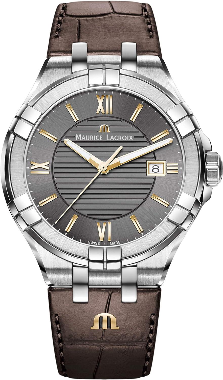 Maurice Lacroix Reloj analógico para Hombre de Cuarzo Suizo con Correa en Cuero AI1008-SS001-333-1