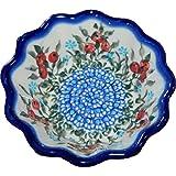 Polish Pottery Ceramika Boleslawiec 0432/282 Royal Blue Patterns 4-1/4 by 1-3/4-Inch Babka Bowl, Small, Red Berries and Daisies