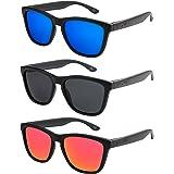 Hochwertige Polarisierte Nerd Rubber Sonnenbrille im Set (24 Modelle) Retro Vintage Unisex Brille mit Federscharnier (Leo-Fire) U65BHruo