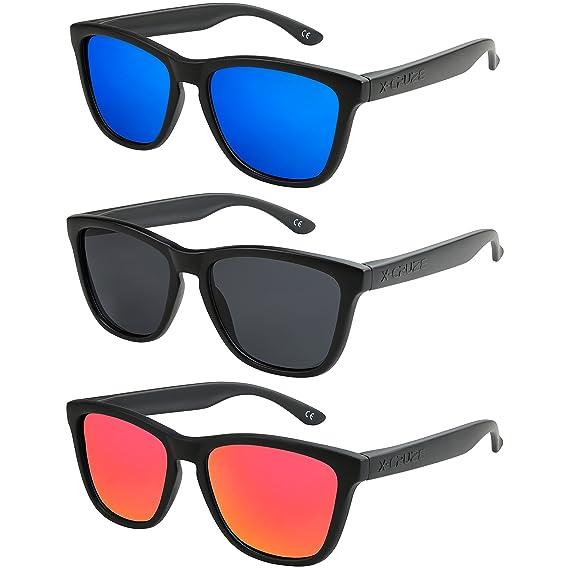 6154ded8e96 X-CRUZE® - Lot de 3 paires de lunettes de soleil Style Nerd polarisées  Vintage Rétro unisexe homme femme hommes femmes - Noir mat - Set A -   Amazon.fr  ...