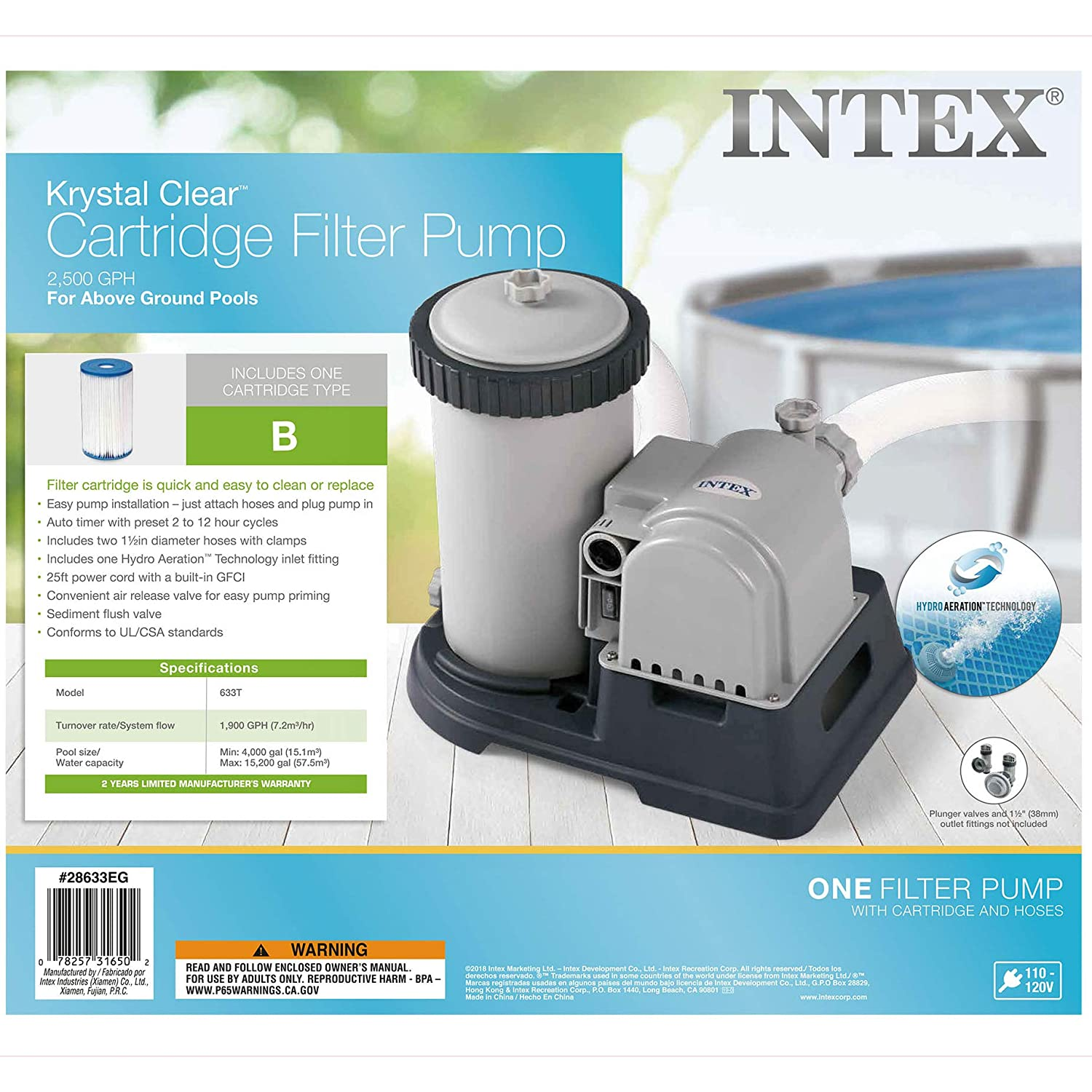 Intex 28633eg Krystal Clear Cartridge Filter Pump For Pool Installation Diagram Best Pumps And Filters Above Ground Pools 2500 Gph Flow Rate 110 120v With Gfci Swimming Water