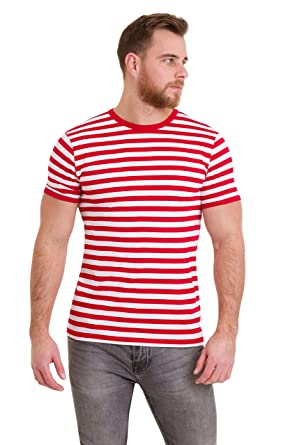 5e08dbf1289bb9 Run & Fly Mens 60's Retro Red & White Striped Short Sleeve T Shirt Small