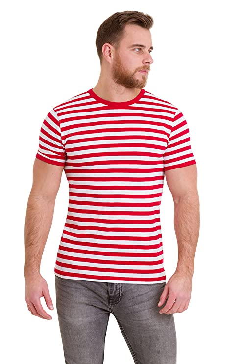 Retro Clothing for Men | Vintage Men's Fashion Mens 60s Retro Red & White Striped Short Sleeve T Shirt $19.95 AT vintagedancer.com