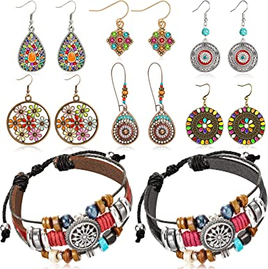 23 Inch Boho Ethnic Multi Colors and Multi Gems Necklace with Earrings