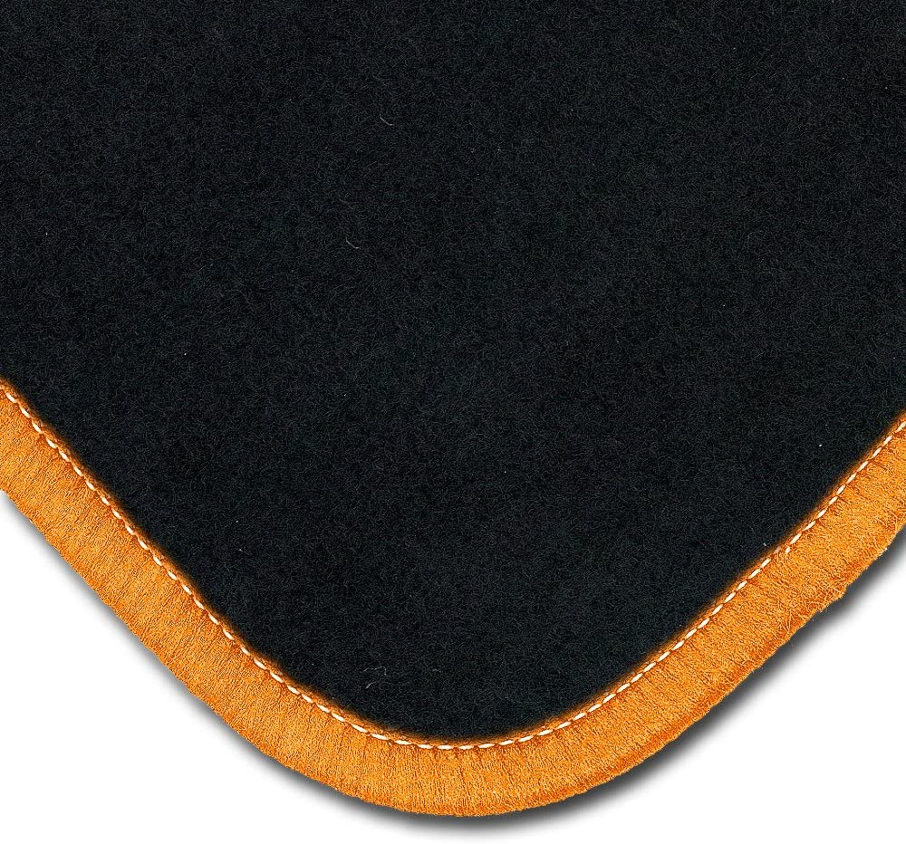 Set 4-teilig Passgenau f/ür Modell Siehe Details Rand Kettelung Orange B/är-AfC VW04159 Classic Auto Fu/ßmatten Nadelvlies Schwarz