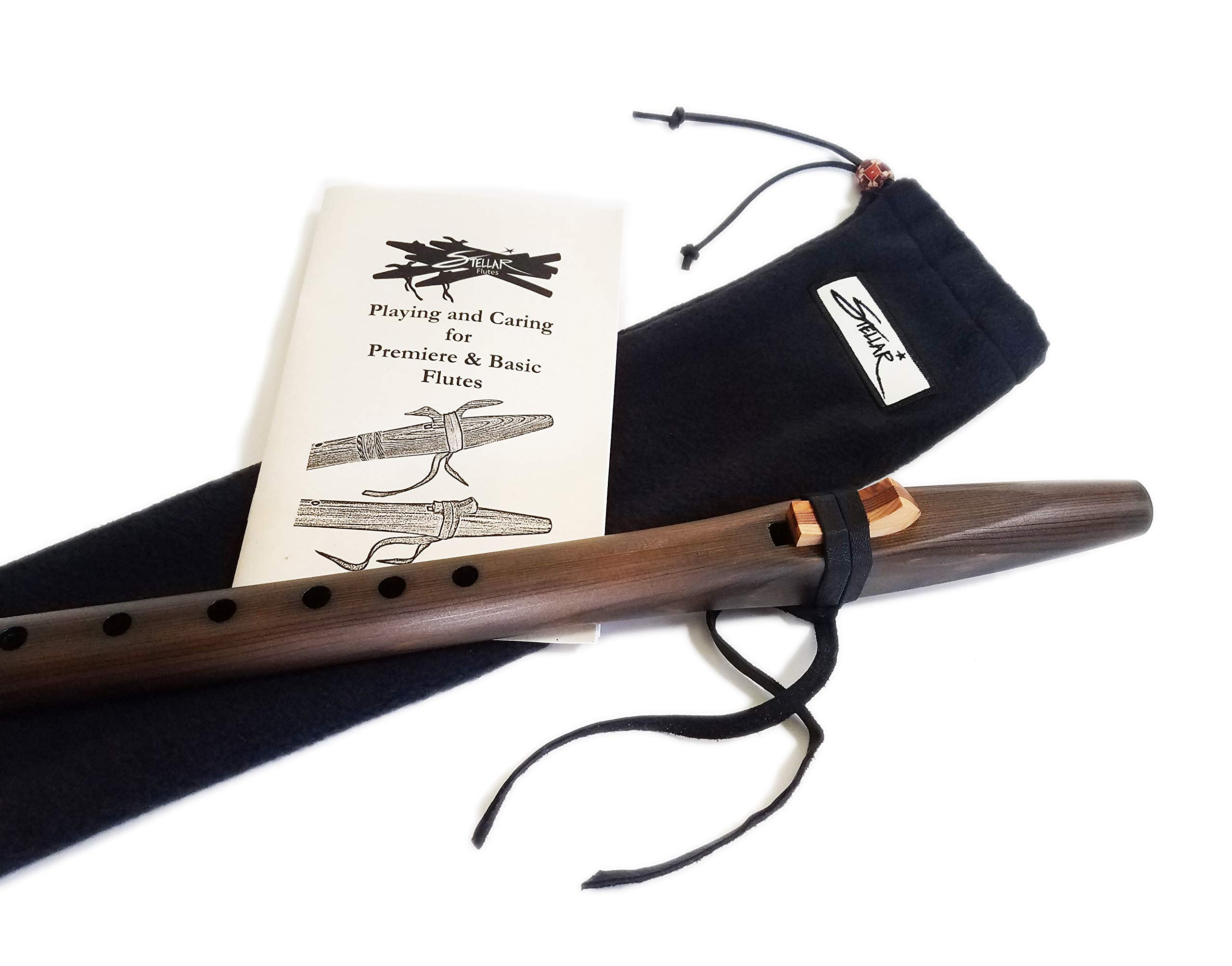 Stellar Basic Flute Key of G - Dark Stained Cedar Native American Style Flute with Carrying Case by Stellar Flutes