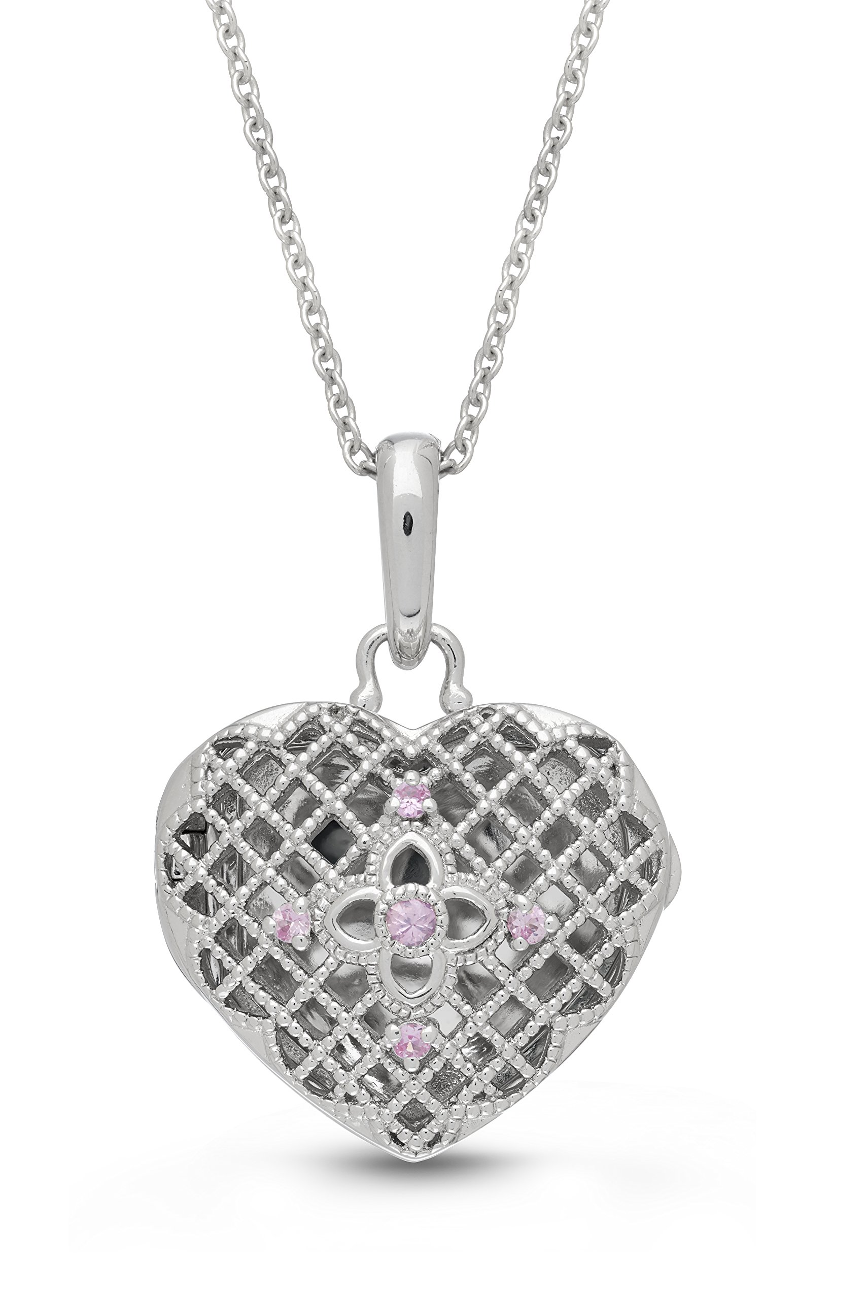 Sterling Silver-Pink Sapphire-Heart-Custom Photo Locket Necklace-18-inch chain-The Isabel by With You Lockets