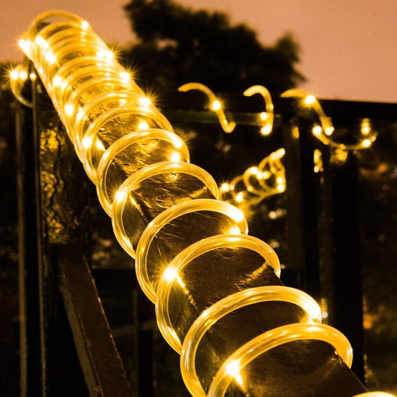Manguera de Luces Solar Exterior,KINGCOO Impermeable 12M 100LED Luces de Cadena Solar Tubo Alambre de Cobre Guirnaldas Luminosas para Navidad Bodas Patio Jardines Iluminaci/ón Blanco c/álido
