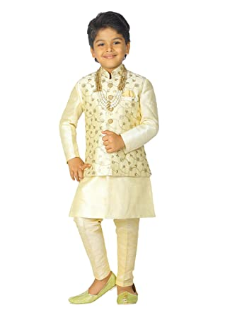 fcabd8ede0 Amazon.com: Ahhaaaa Kids Indian Ethnic Banarasi Silk Kurta Pyjama and  Waistcoat Set for Boys: Clothing