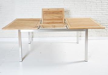 Amazon De Ausziehbarer Gartentisch 150 210x100cm Aus Fsc Teakholz