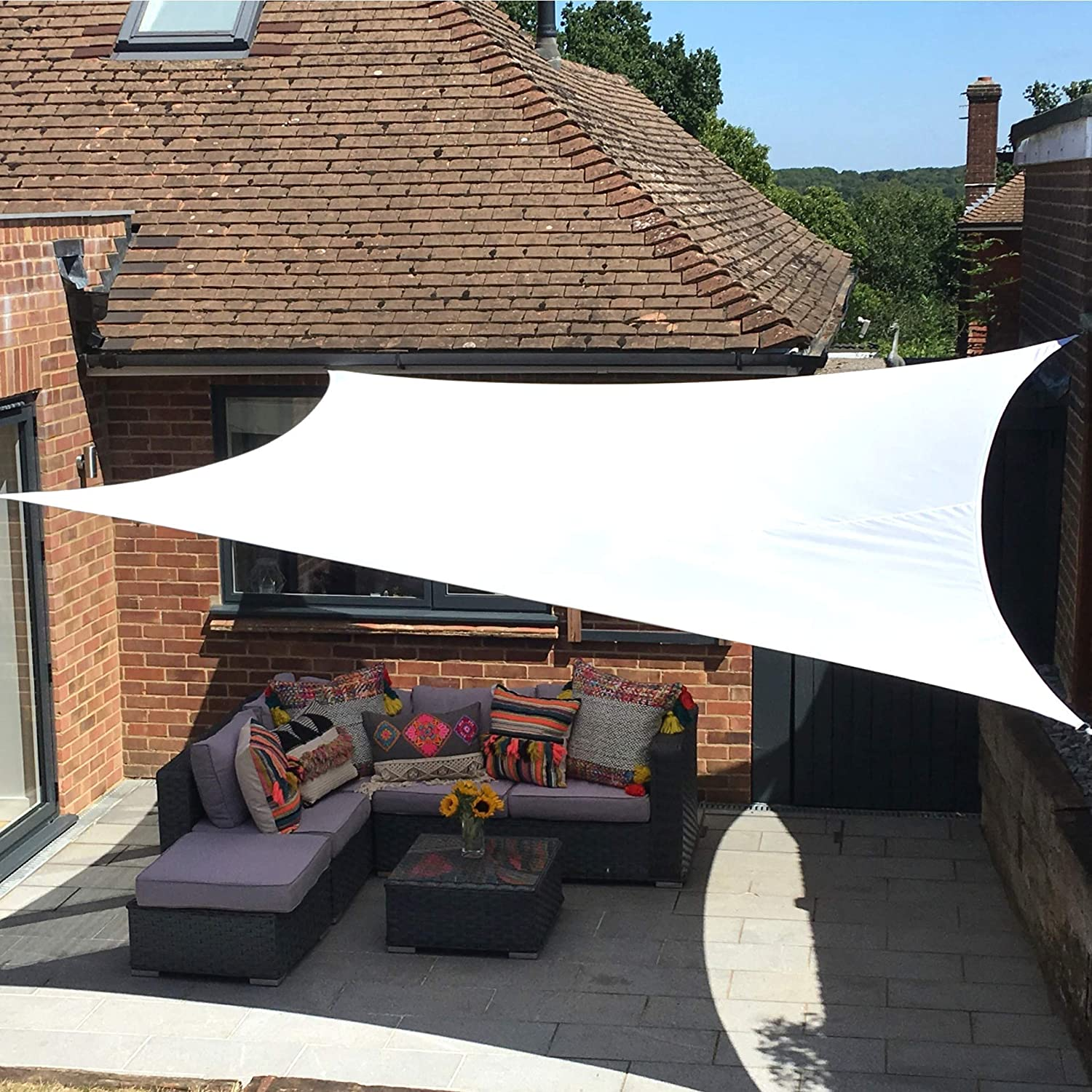 Toldo Vela Clara Shade Sail Blanco Impermeable Vela de Sombra para Jardin (Rectangle 4m x 5m, Blanco)