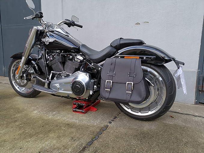 Zeus Black Seitentasche Halter Xl Ab 2018 Von Orletanos Kompatibel Mit Harley Davidson Softail Fatboy Heritage Fat Bob Streetbob Ab 2018 Satteltasche Tasche Seitenkoffer Auto