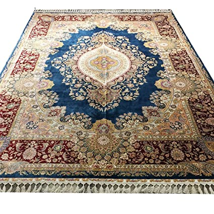 Yilong 7.2'x10' Handmade Turkish Silk Rug for Living Room Vintage Medallion Carpet
