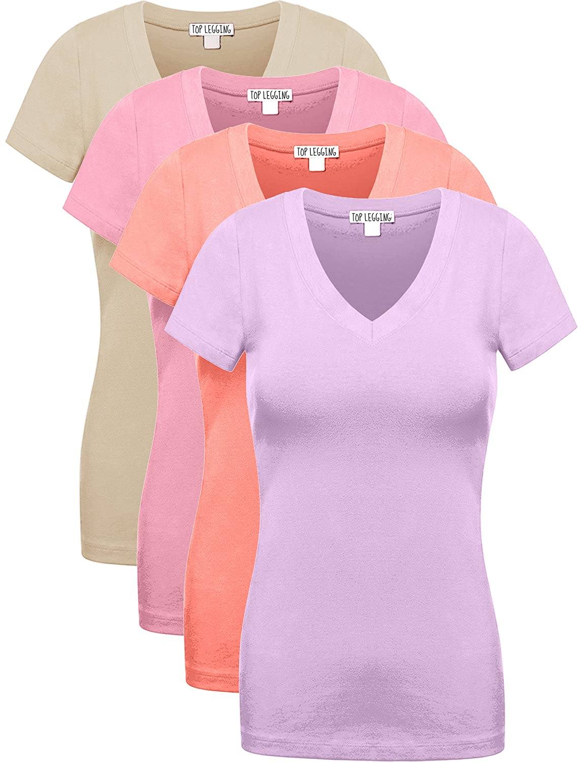 Comfy Basic Cotton Short Sleeves Solid V-Neck Plain T-Shirts for Women - Pack of 4 or 6 – by TOP LEGGING TL-GT3009R