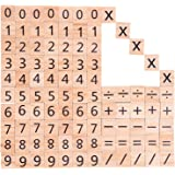 Blulu Wooden Scrabble Tiles Wood Number and Symbol Piece Replacement Tile for Toys Crafts and Pre-school Education, 100 Tiles