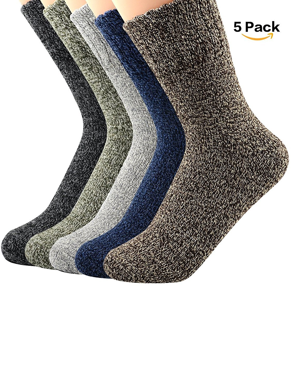 5 Pairs Womens Cold Weather Soft Warm Thick Knit Crew Casual Wool Bombas Socks Urban Virgin MNUCBUVCFTA9198