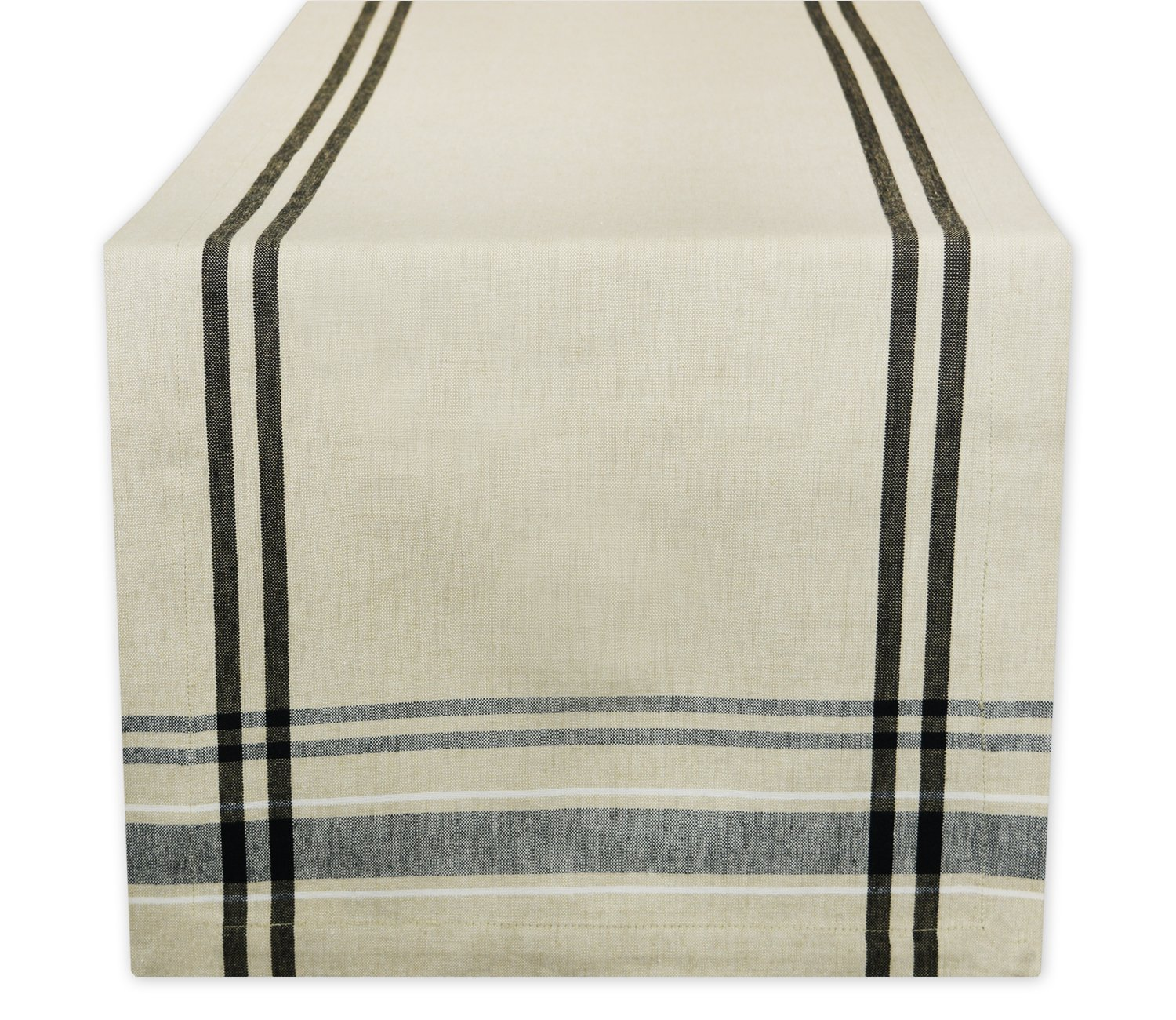 """DII 100% Cotton, Machine Washable, Everyday French Stripe Kitchen Table Runner For Dinner Parties, Events, Decor 14x108"""" - Black"""