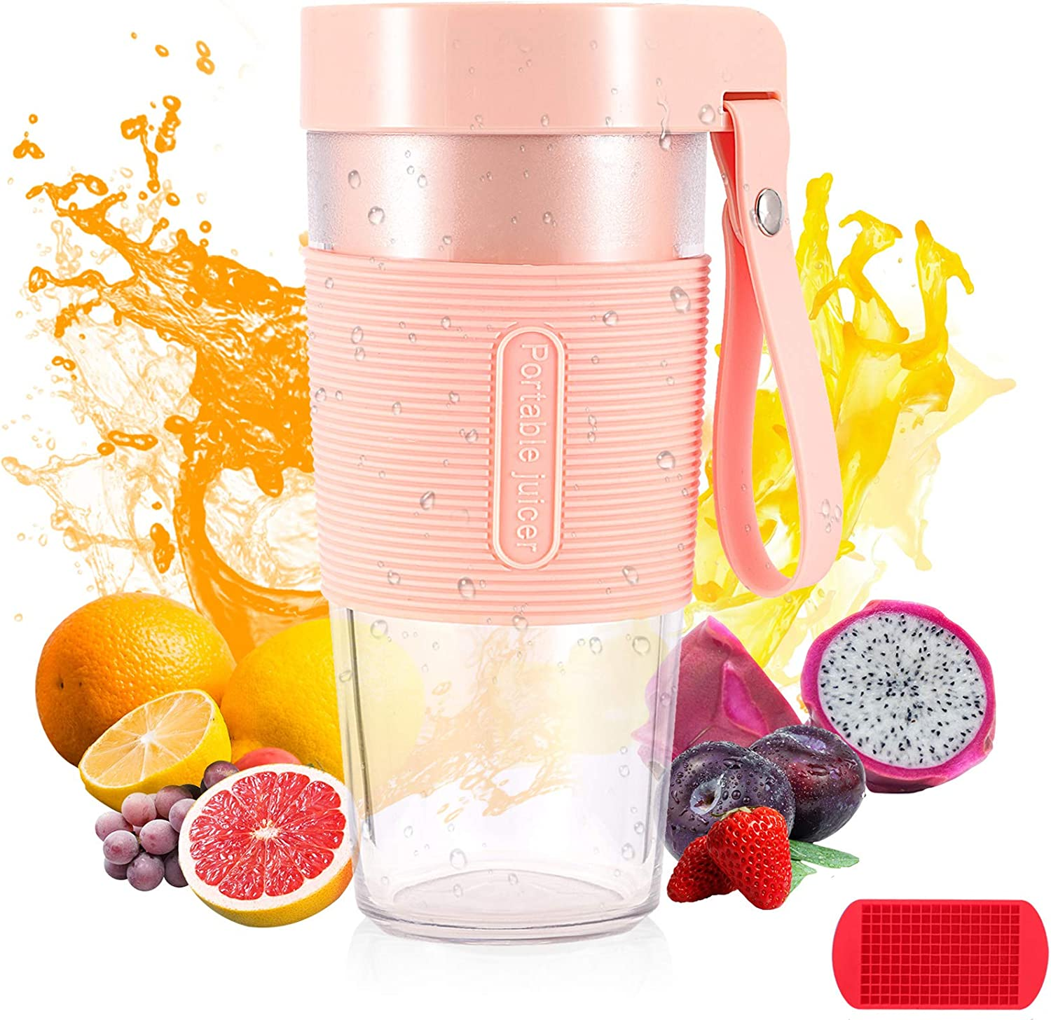 Portable Blender, Single serving Personal Size Blender for Smoothies and Shakes, 350ML 12OZ Mini Small Blender, 2200mAh Usb Rechargeable, Jucie Cup for Kitchen, Sports, Travel, Gym, home and office( Pink)