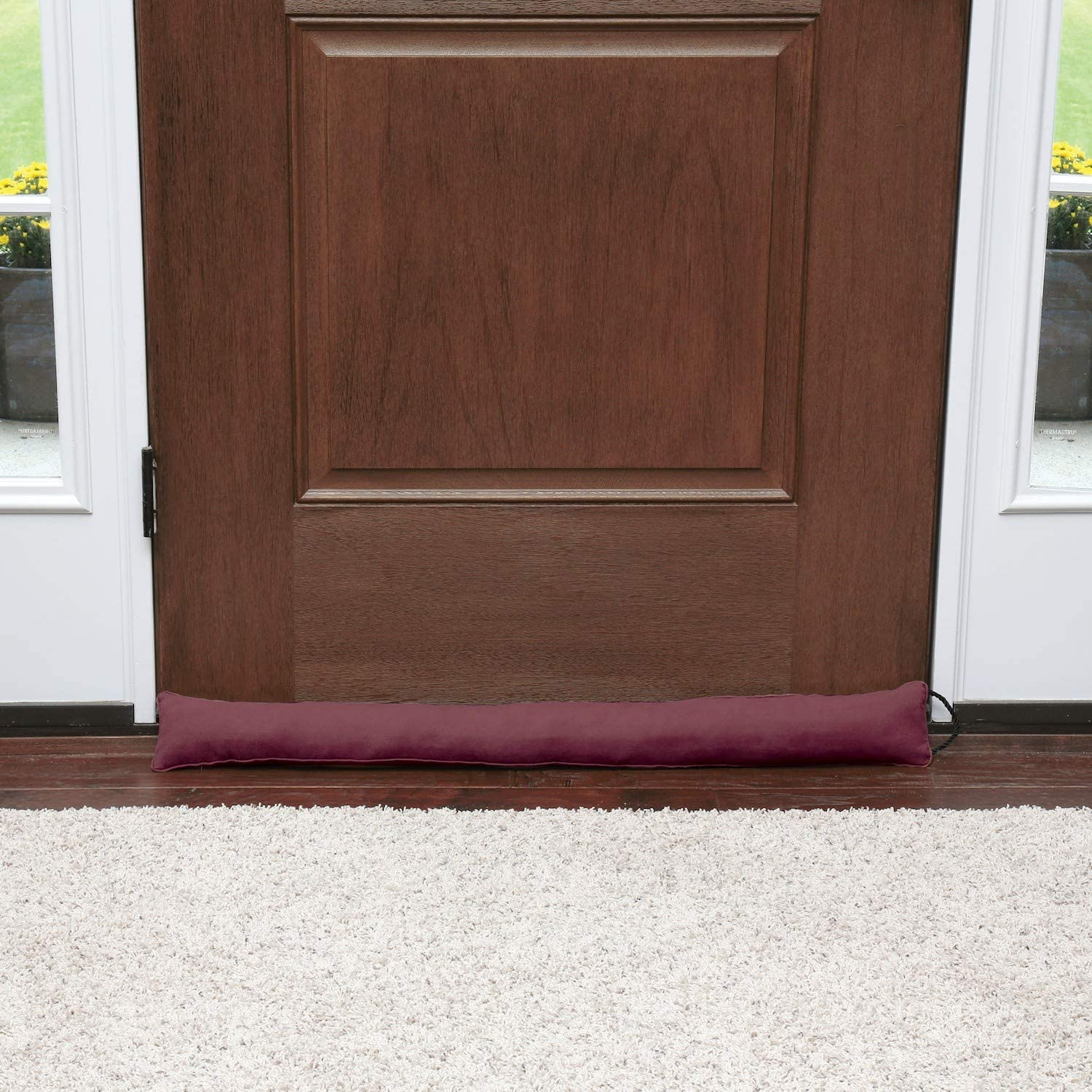 HOME DISTRICT Draft Dodger - Faux Suede Weighted Door and Window Breeze, Noise Guard Stopper Blocker - 35.5 Inches Long - Burgundy