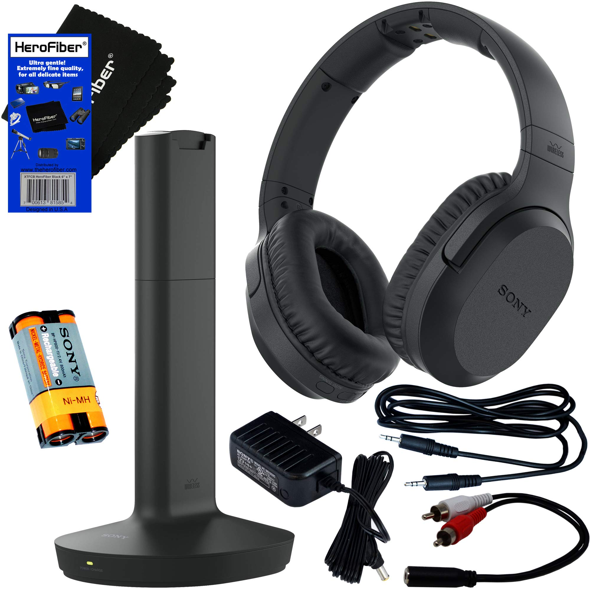 Sony Wireless Over-Ear Noise Reduction Headphones (WHRF400R) with Transmitter Dock (TMRRF400) + Sony Rechargeable Battery + Connecting Cables + AC Adaptor + HeroFiber Cleaning Cloth by HeroFiber