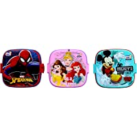 Perpetual Bliss (Pack of 5) Fancy Disney Theme Square Lunch Box Double Layer for Kids Return Gifts (Dimension)cm: 13x13x10