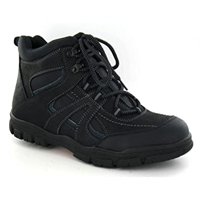 c41382ef02739 Amazon.com | Spot On Mens Flat Lace Up Walking Boots (11 US) (Black ...