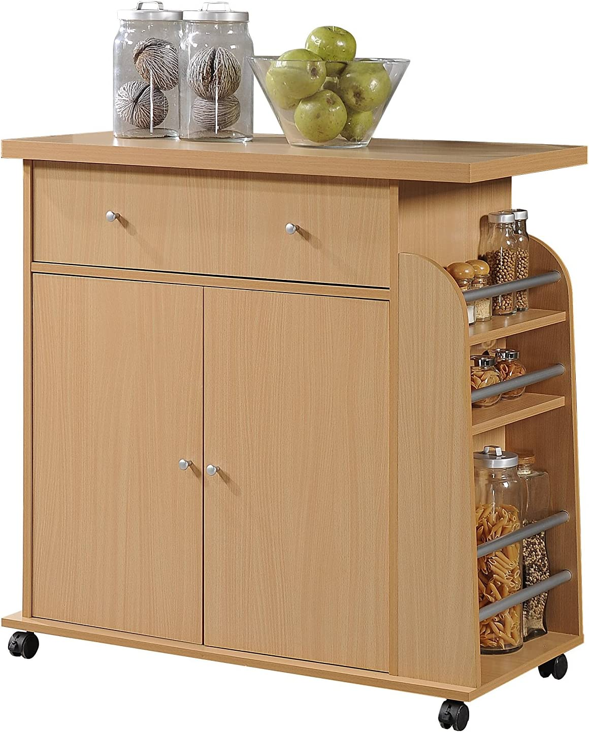 Hodedah Import Kitchen Island with Spice Rack and Towel Rack, Beech