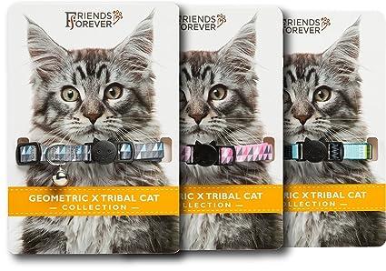 Geo X Tribal Cat collar colección 3 piezas Set, duradero y seguro, nailon,