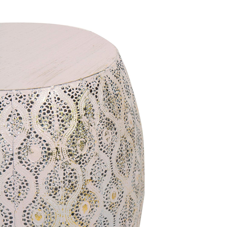 Tuoni Modello Lesha Tavolino da caff/è in Metallo con Decorazioni Rosa e Oro altezza 43,5 cm