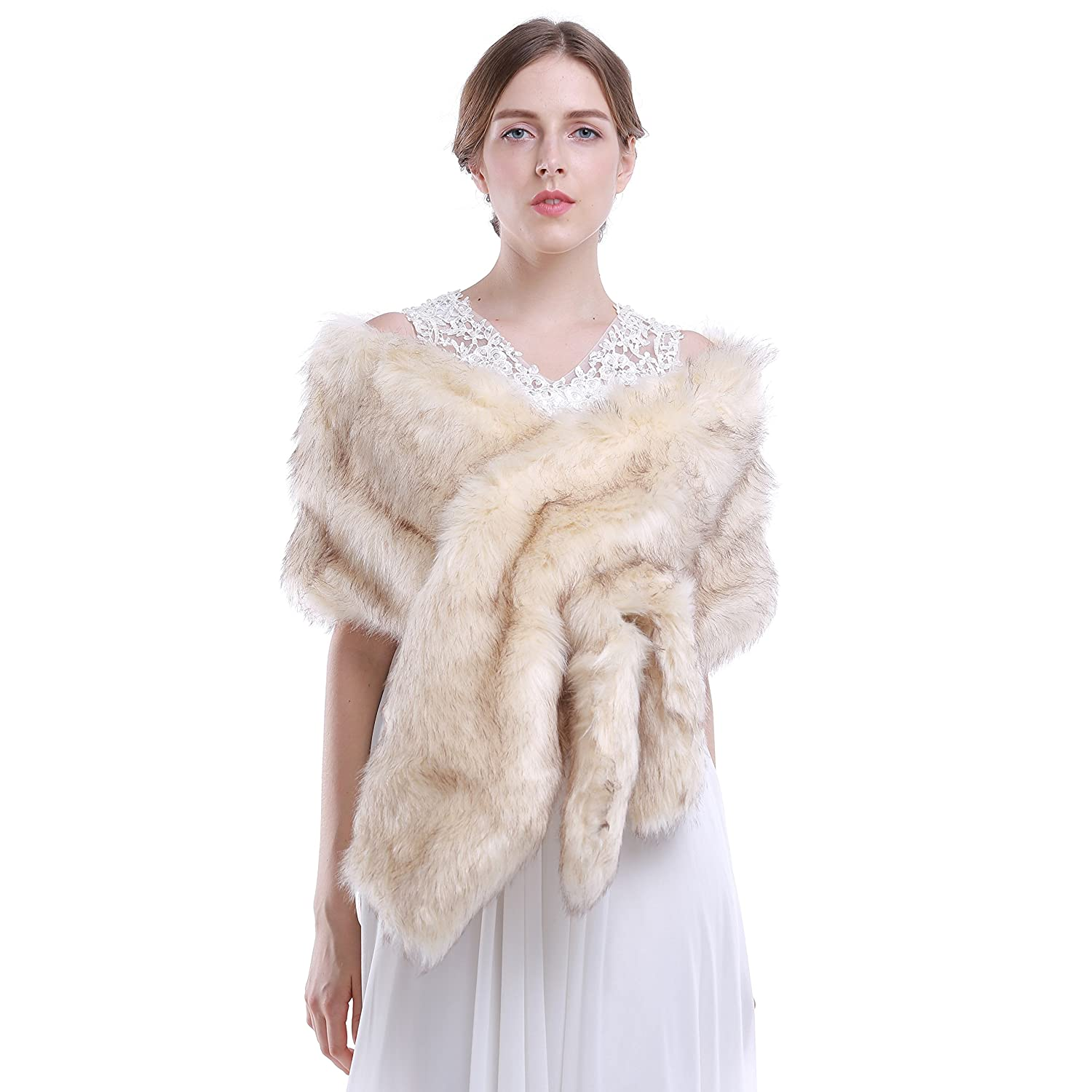 HailieBridal Beige Sleeveless Faux Fur Bride Bridesmaid Wedding Shawl HailieStudio