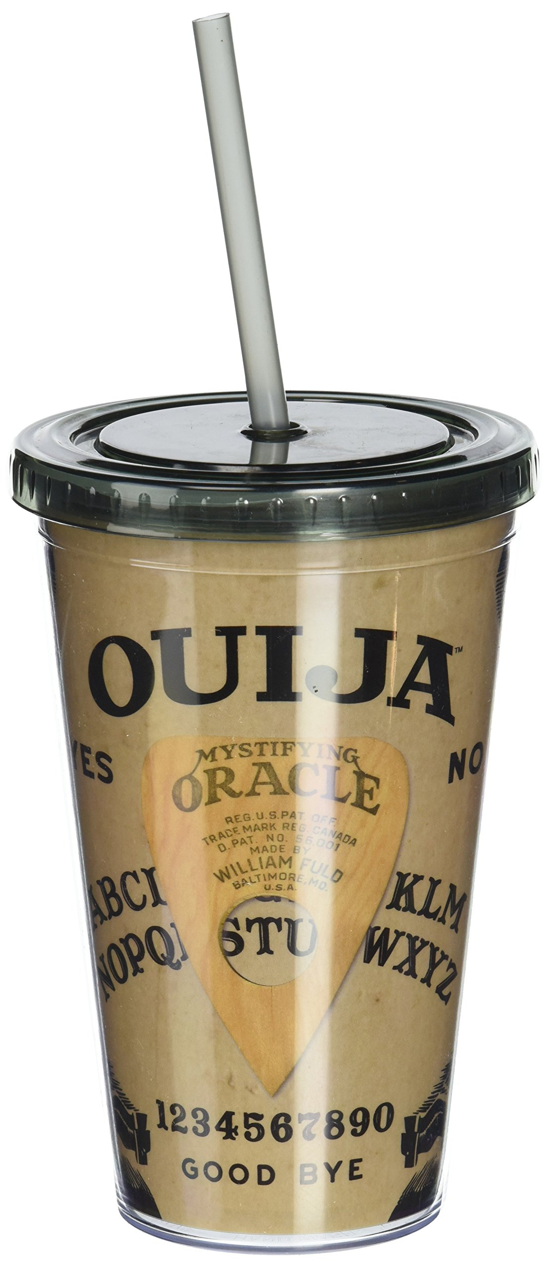 ICUP Hasbro Ouija Board Cup with Straw, Clear