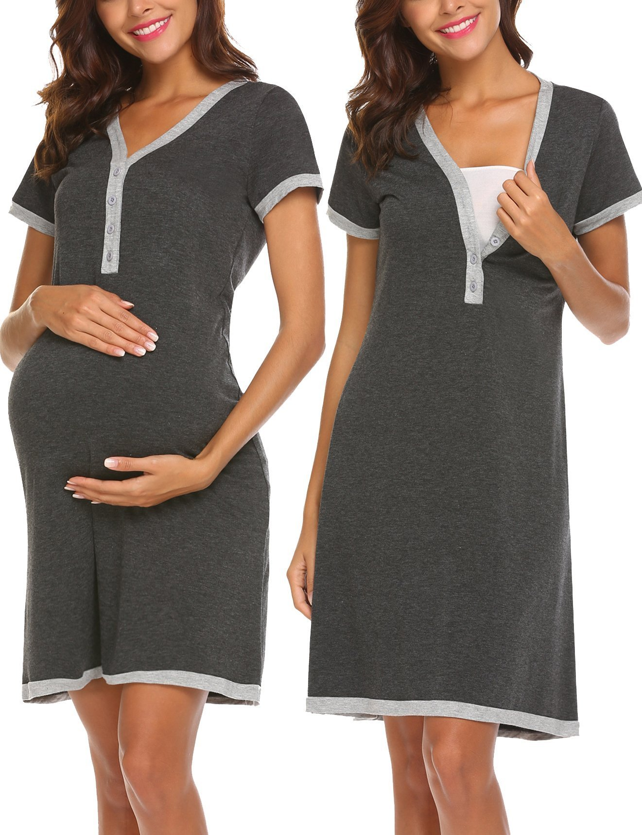 Ekouaer Women's Maternity V-Neck Short Sleeve Patchwork Nursing Breastfeeding Sleepshirts by Ekouaer