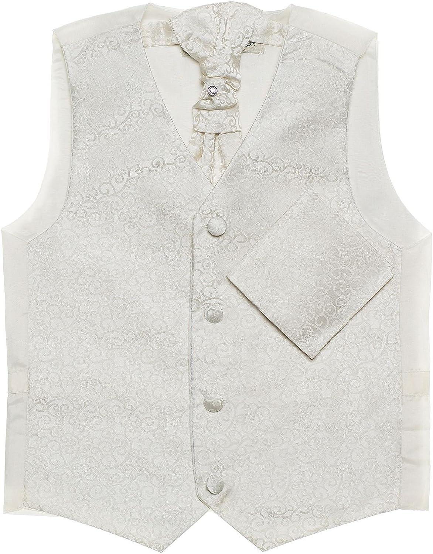 Paisley of London Cravat /& Hanky Set 3m 14 Years Boys Ivory Waistcoat Swirl Waistcoats
