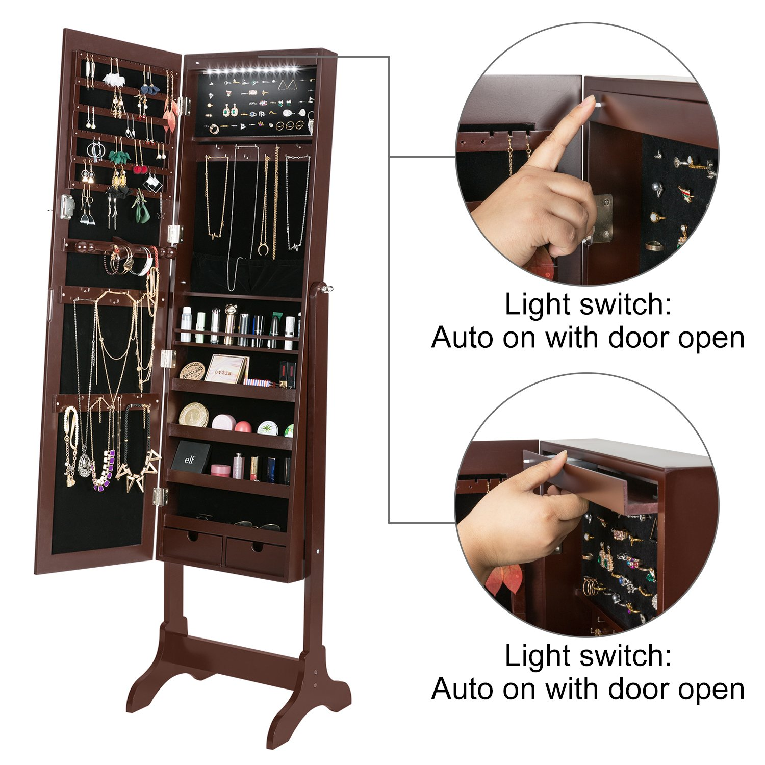 HollyHOME Mirrored Jewelry Cabinet Lockable Standing Jewelry Armoire Holder Organizer with LED Lights, 4 Angle Adjustable, Brown by HollyHOME (Image #4)