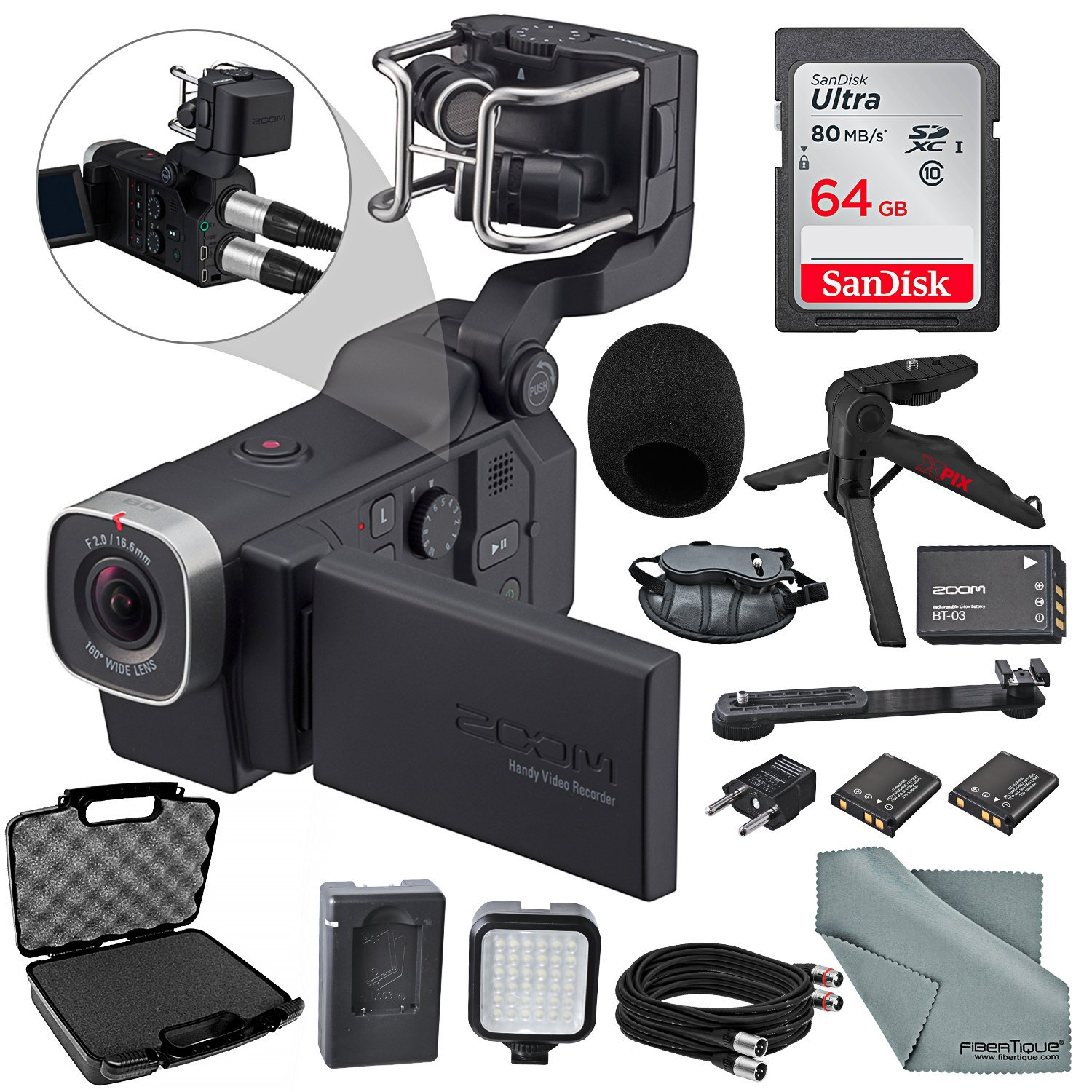 Zoom Q8 Handy Video Recorder Deluxe Accessory Bundle with LED Light Kit + Case + 64GB + Cables + XPIX Tripod & Fibertique Cloth