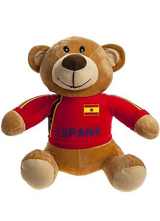 Crazy Football - Oso de peluche con camiseta roja selección española 50cm - Calidad super soft