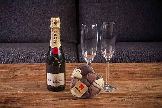 BUBBLE PACK ROMÁNTICO CHAMPAGNE MOËT & CHANDON 37,5 CL. Y CAJA CON 9