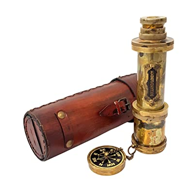 Brass Nautical - 18 inches Antique Telescope/Spyglass Replica in Leather Box (Dollond London's): Toys & Games
