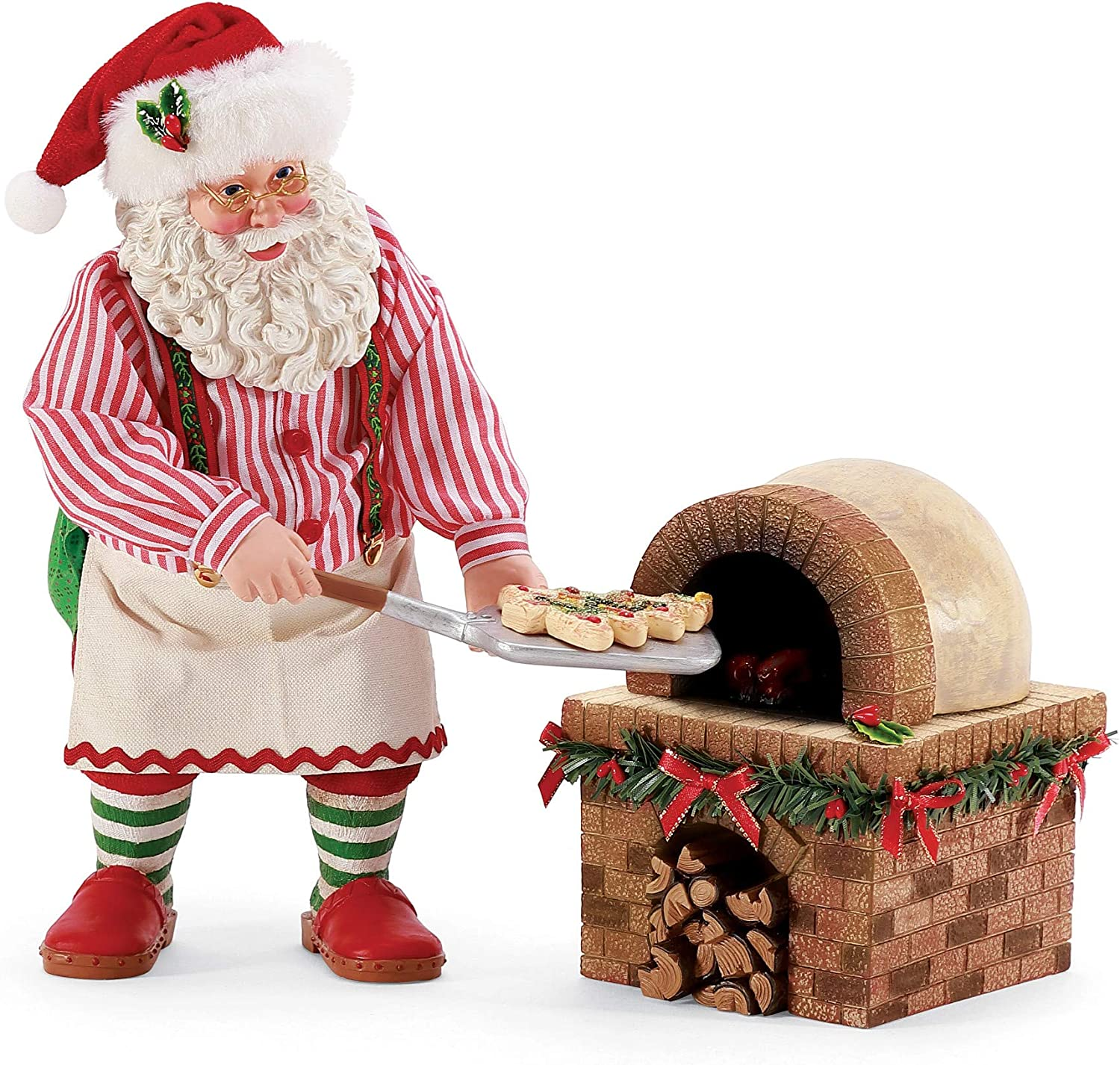 Department 56 Possible Dreams Bon Apetit Santa Christmas Pizza and Oven Figurine Set, 10.5 Inch, Multicolor